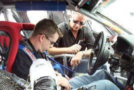 Jeff gets fitted for the Istook-Aines Motorsport S4 Audi
